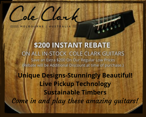 Cole Clark Guitars with Unique Designs and Live Pickup Technology. Instant Rebate $200!
